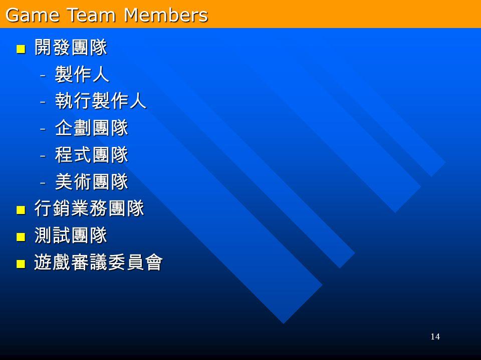 Game Team Members 開發團隊 製作人 執行製作人 企劃團隊 程式團隊 美術團隊 行銷業務團隊 測試團隊 遊戲審議委員會