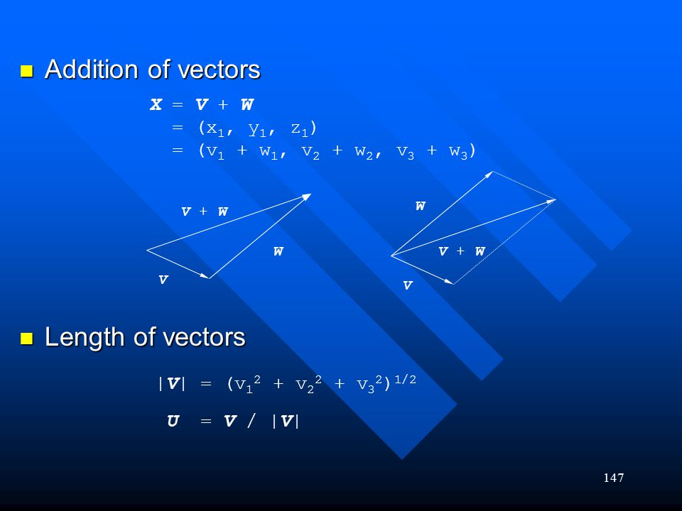 Addition of vectors Length of vectors X = V + W = (x1, y1, z1)