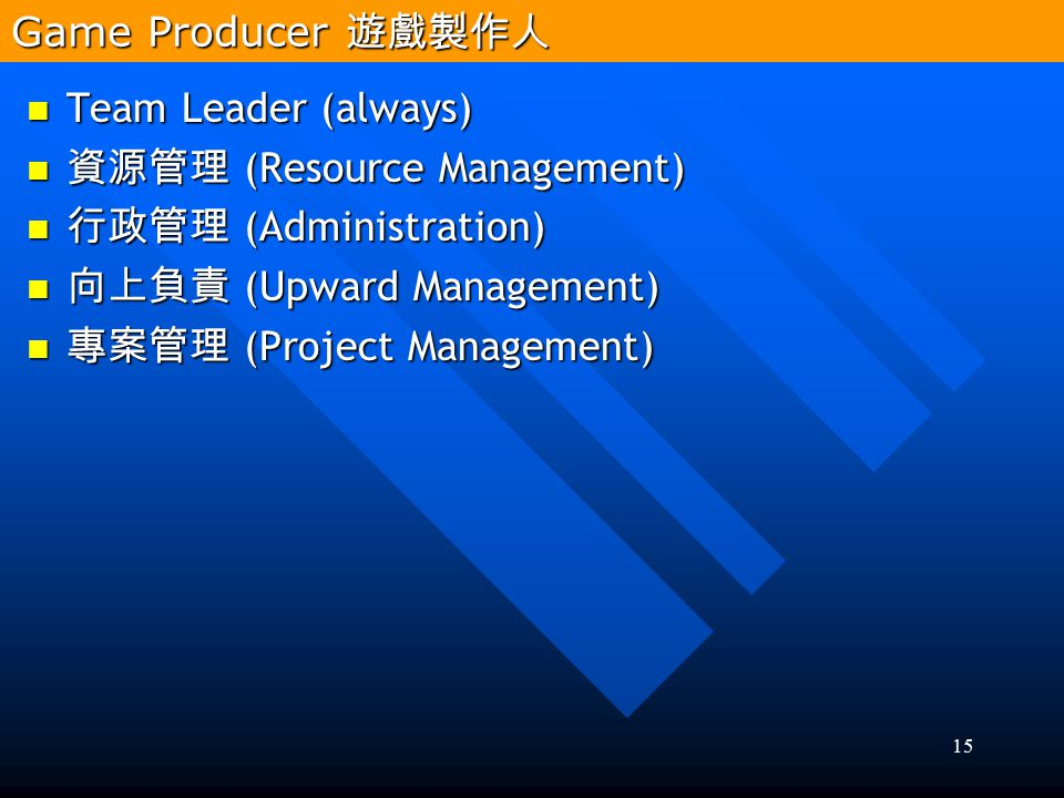 Game Producer 遊戲製作人 Team Leader (always) 資源管理 (Resource Management) 行政管理 (Administration) 向上負責 (Upward Management)