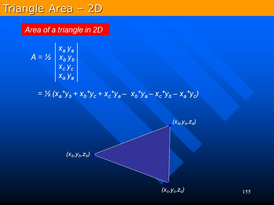 Triangle Area – 2D Area of a triangle in 2D xa ya A = ½ xb yb xc yc