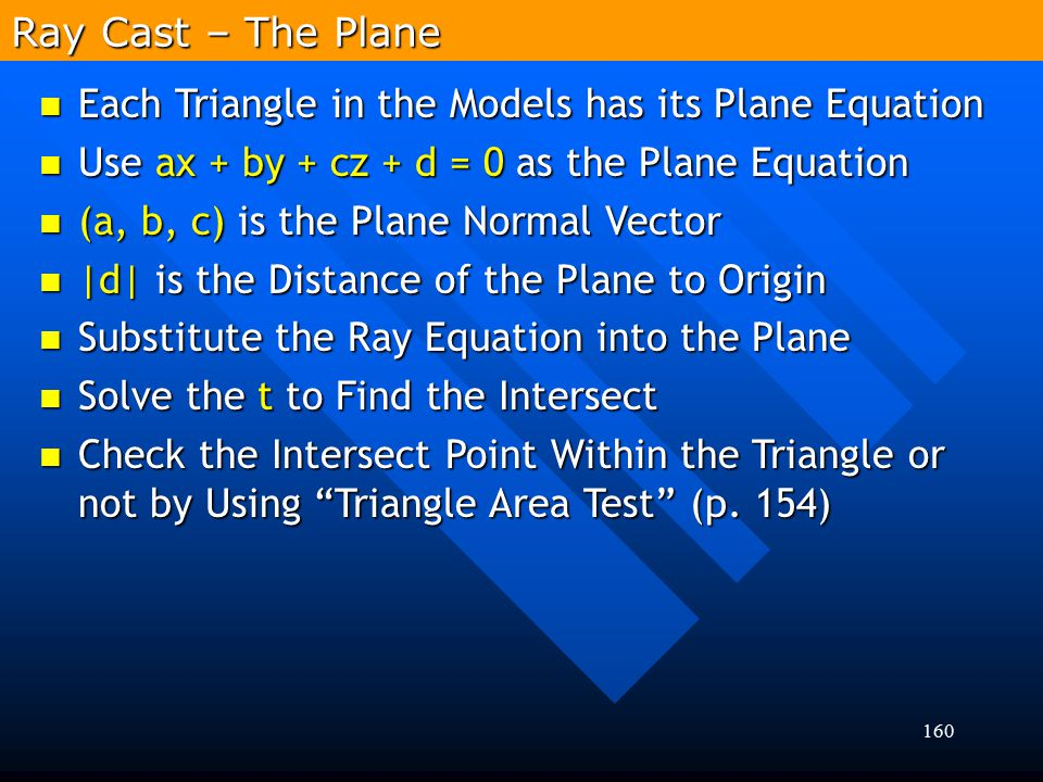 Ray Cast – The Plane Each Triangle in the Models has its Plane Equation. Use ax + by + cz + d = 0 as the Plane Equation.