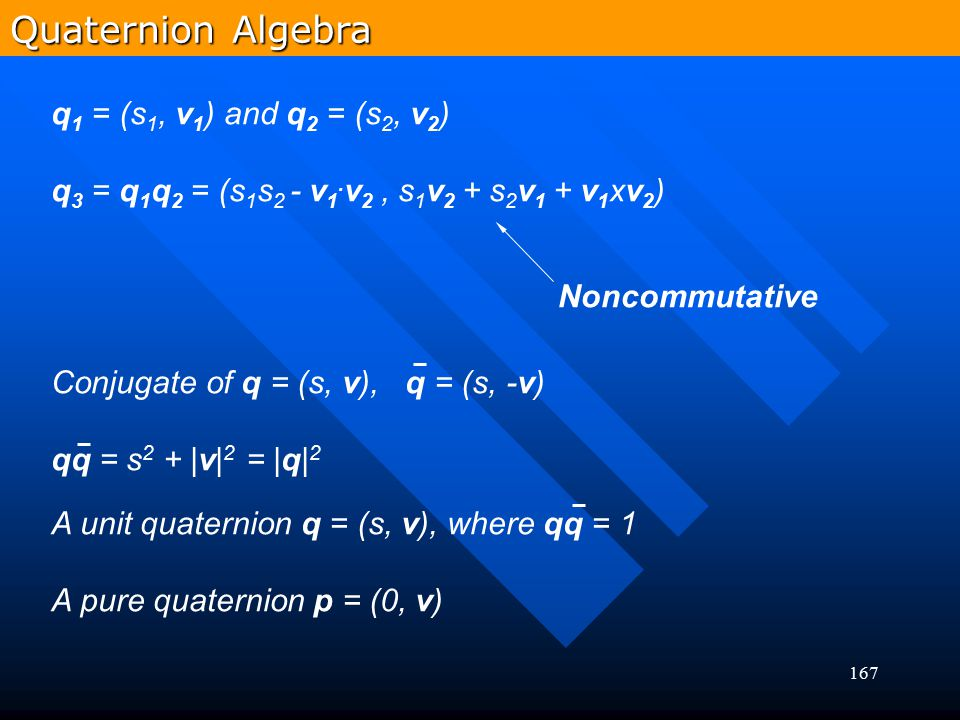 Quaternion Algebra q1 = (s1, v1) and q2 = (s2, v2)