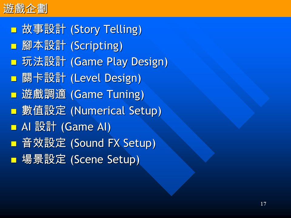 遊戲企劃 故事設計 (Story Telling) 腳本設計 (Scripting) 玩法設計 (Game Play Design) 關卡設計 (Level Design) 遊戲調適 (Game Tuning)