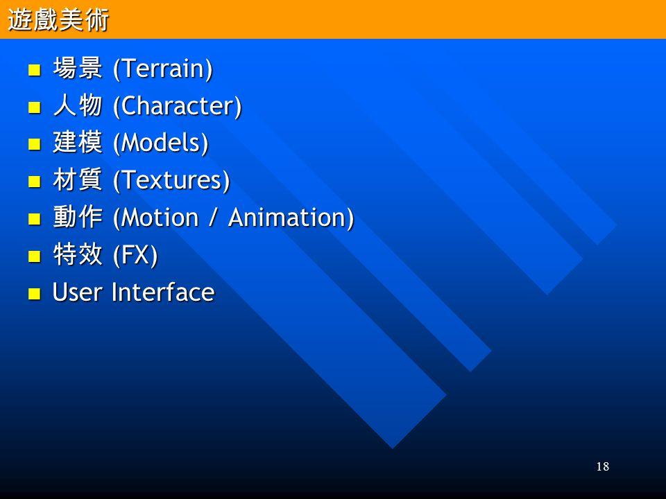 遊戲美術 場景 (Terrain) 人物 (Character) 建模 (Models) 材質 (Textures) 動作 (Motion / Animation) 特效 (FX) User Interface.