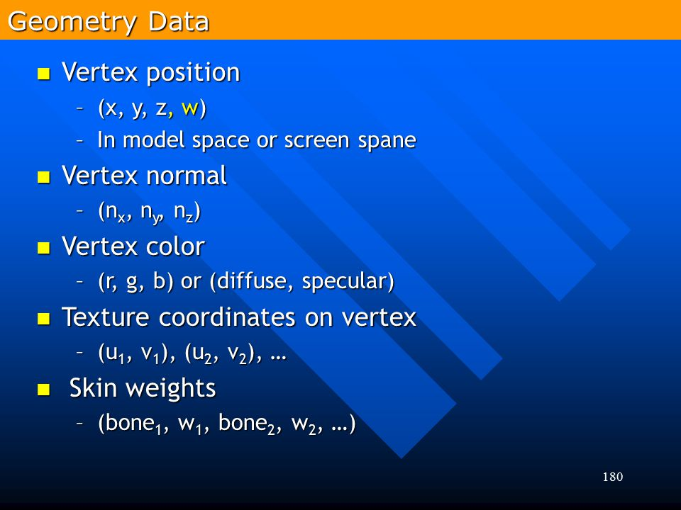 Texture coordinates on vertex Skin weights