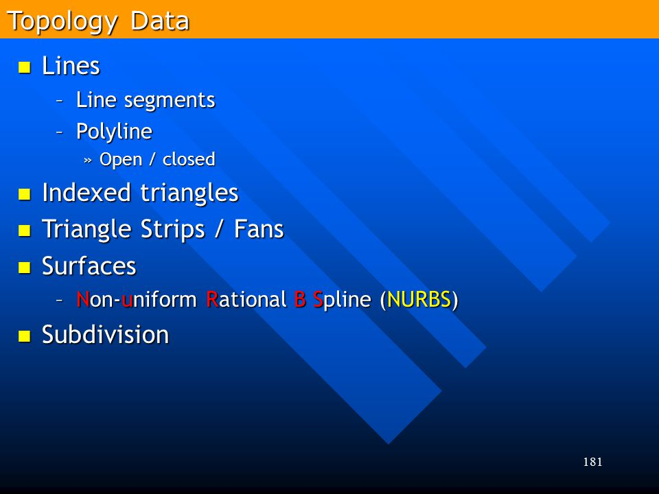 Topology Data Lines Indexed triangles Triangle Strips / Fans Surfaces