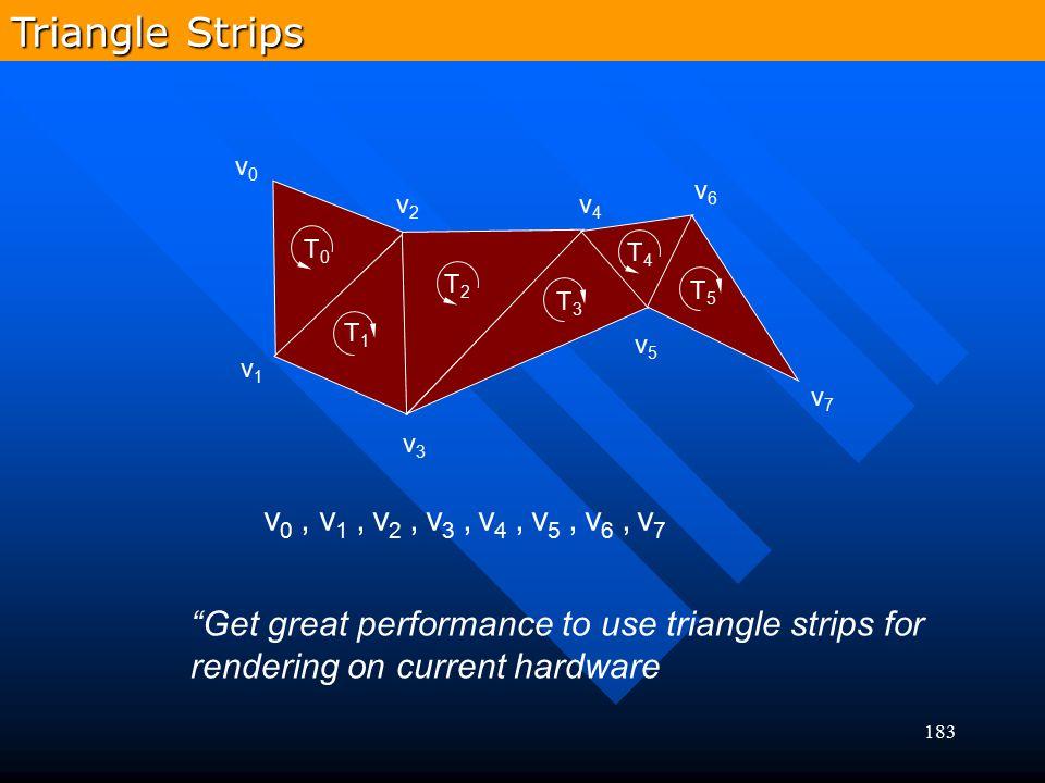 Triangle Strips v0 , v1 , v2 , v3 , v4 , v5 , v6 , v7