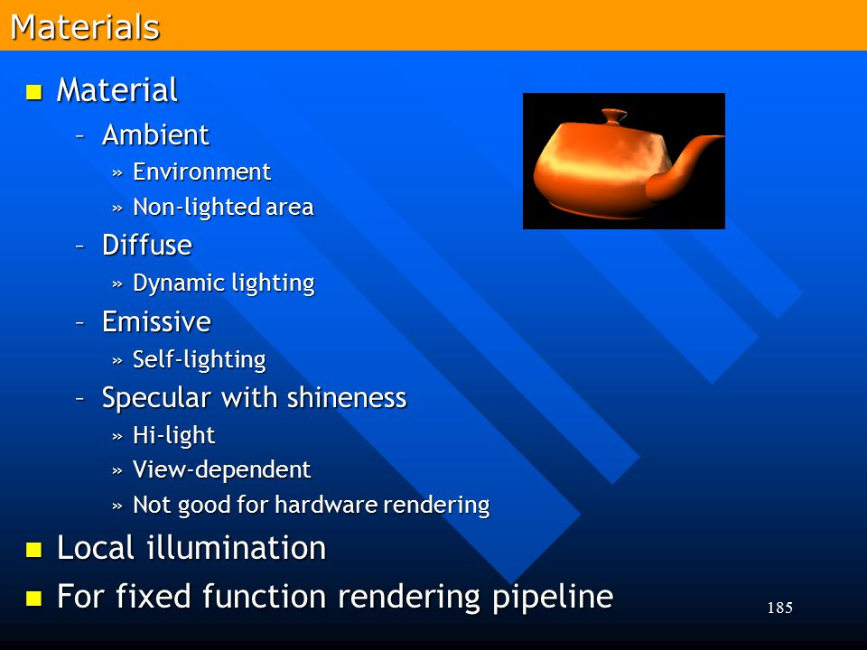 For fixed function rendering pipeline