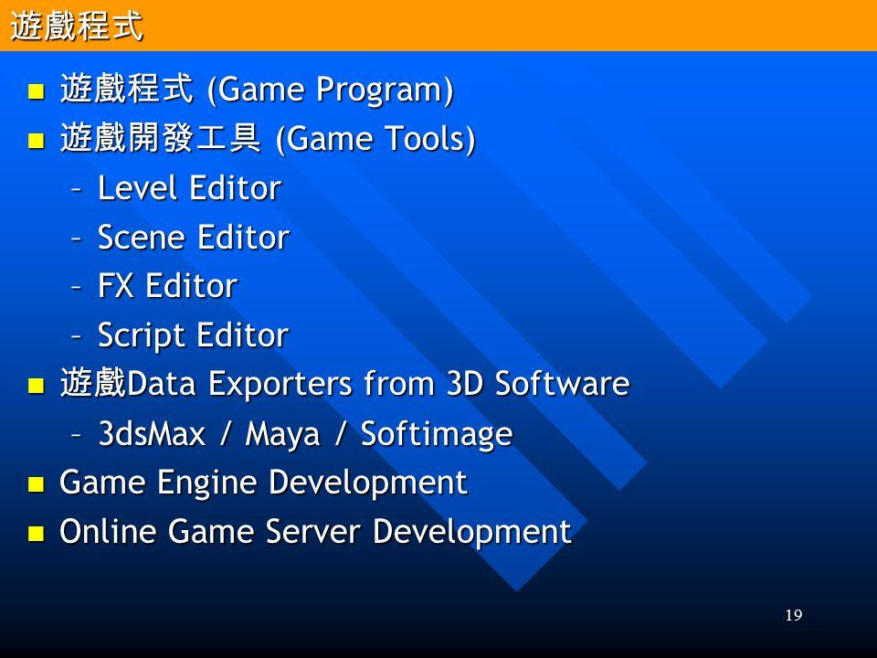 遊戲程式 遊戲程式 (Game Program) 遊戲開發工具 (Game Tools) Level Editor. Scene Editor. FX Editor. Script Editor.