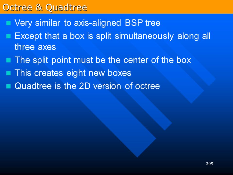 Octree & Quadtree Very similar to axis-aligned BSP tree. Except that a box is split simultaneously along all three axes.