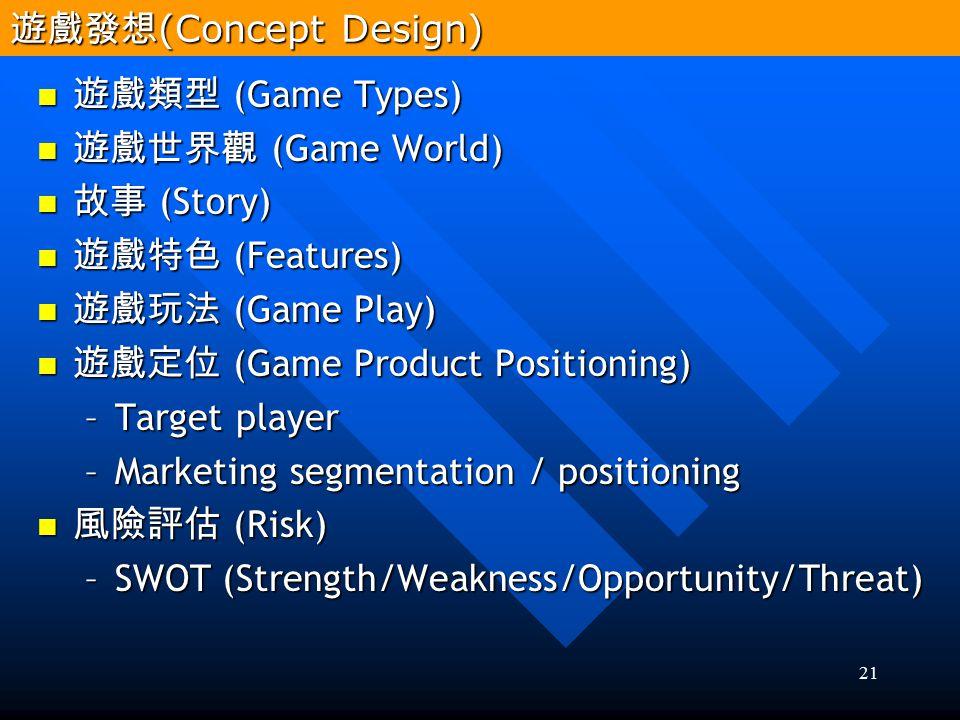 遊戲發想(Concept Design) 遊戲類型 (Game Types) 遊戲世界觀 (Game World) 故事 (Story) 遊戲特色 (Features) 遊戲玩法 (Game Play)