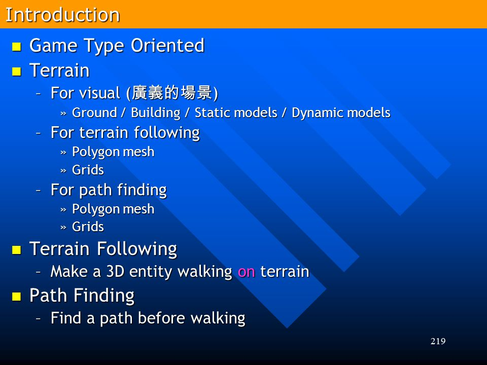 Introduction Game Type Oriented Terrain Terrain Following Path Finding