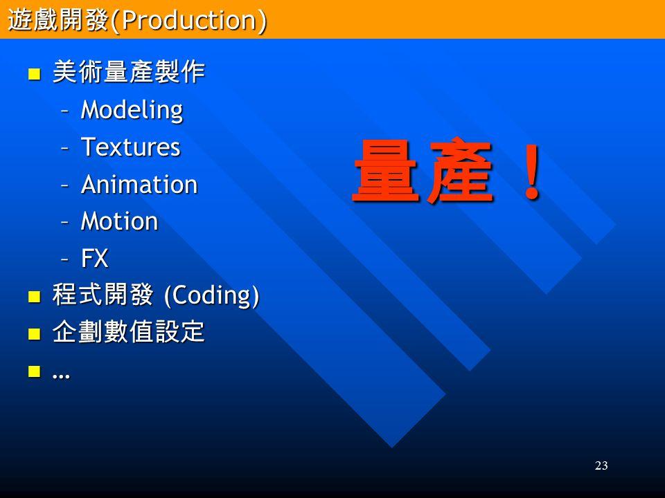 量產 ! 遊戲開發(Production) 美術量產製作 Modeling Textures Animation Motion FX