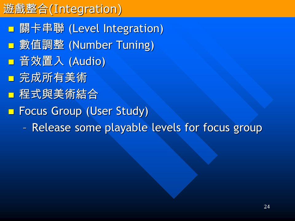 遊戲整合(Integration) 關卡串聯 (Level Integration) 數值調整 (Number Tuning) 音效置入 (Audio) 完成所有美術. 程式與美術結合. Focus Group (User Study)