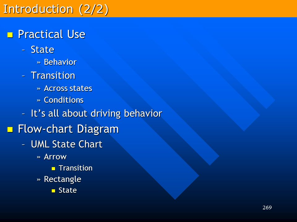 Introduction (2/2) Practical Use Flow-chart Diagram State Transition