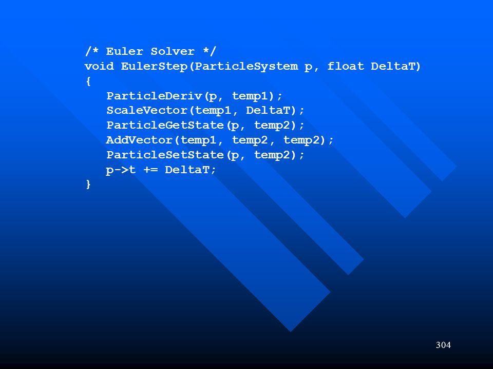 /* Euler Solver */ void EulerStep(ParticleSystem p, float DeltaT) { ParticleDeriv(p, temp1); ScaleVector(temp1, DeltaT);