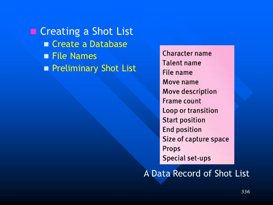 Creating a Shot List Create a Database File Names