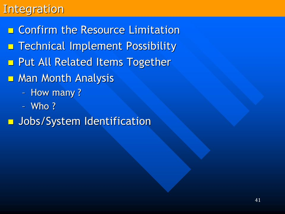 Confirm the Resource Limitation Technical Implement Possibility
