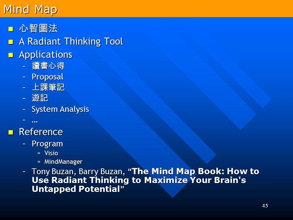 Mind Map 心智圖法 A Radiant Thinking Tool Applications Reference 讀書心得