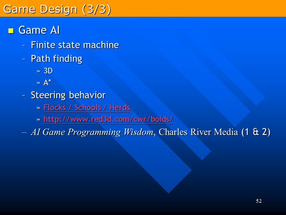 Game Design (3/3) Game AI Finite state machine Path finding
