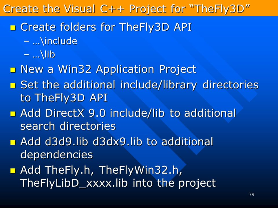 Create the Visual C++ Project for TheFly3D