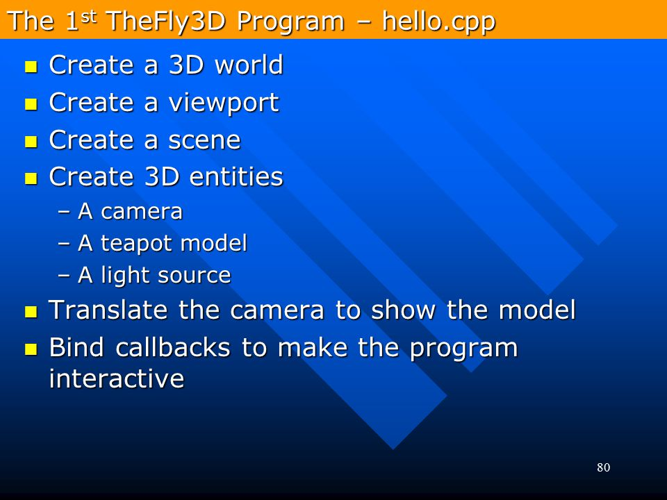 The 1st TheFly3D Program – hello.cpp