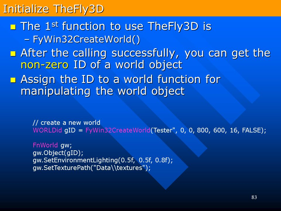The 1st function to use TheFly3D is