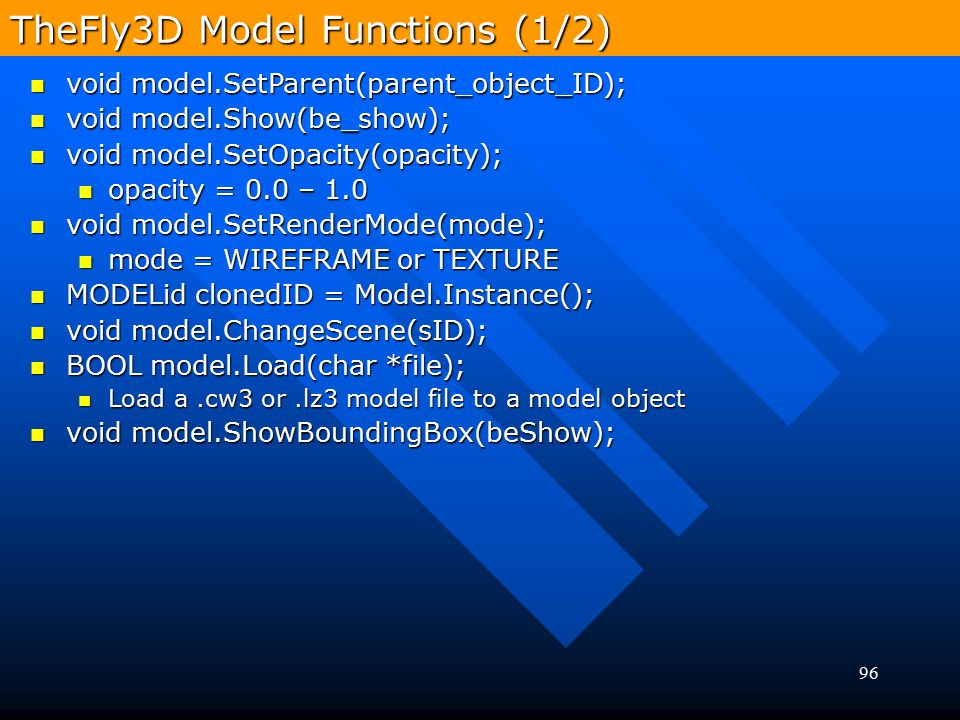 TheFly3D Model Functions (1/2)