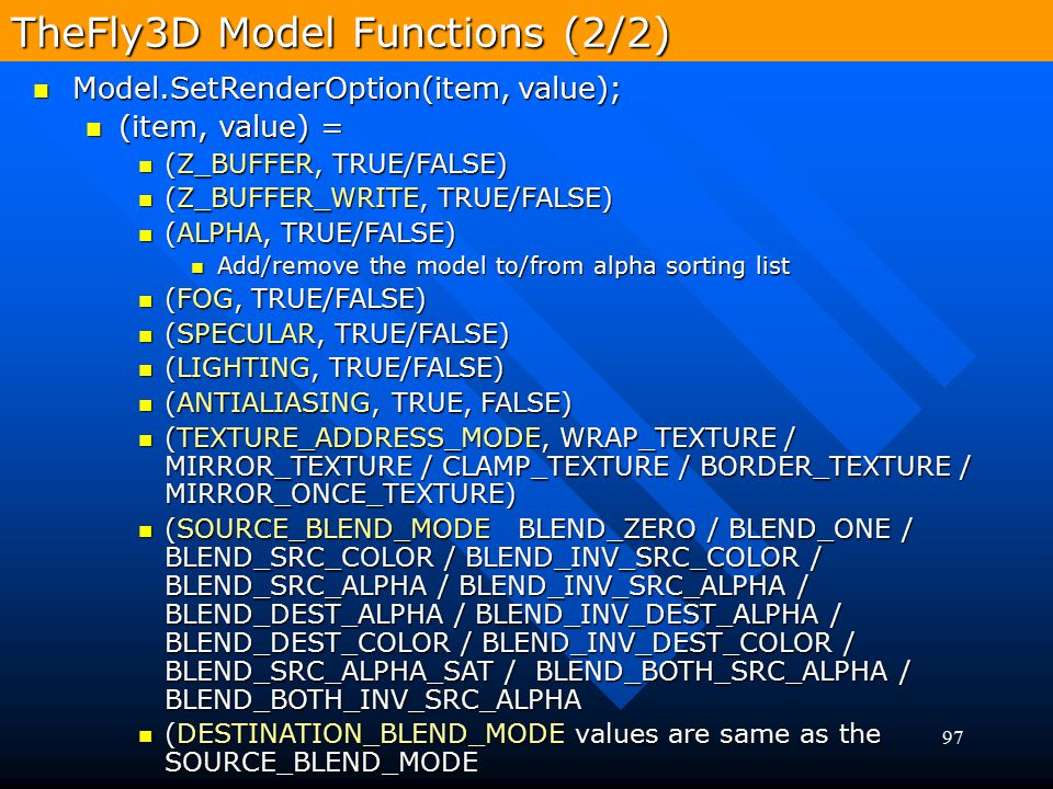 TheFly3D Model Functions (2/2)