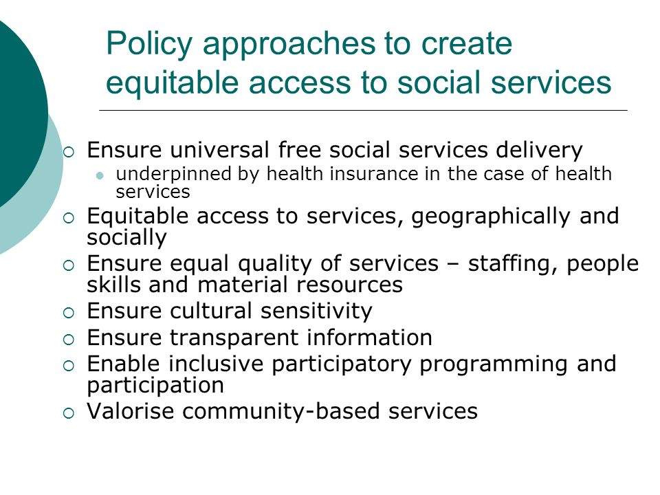 Policy approaches to create equitable access to social services
