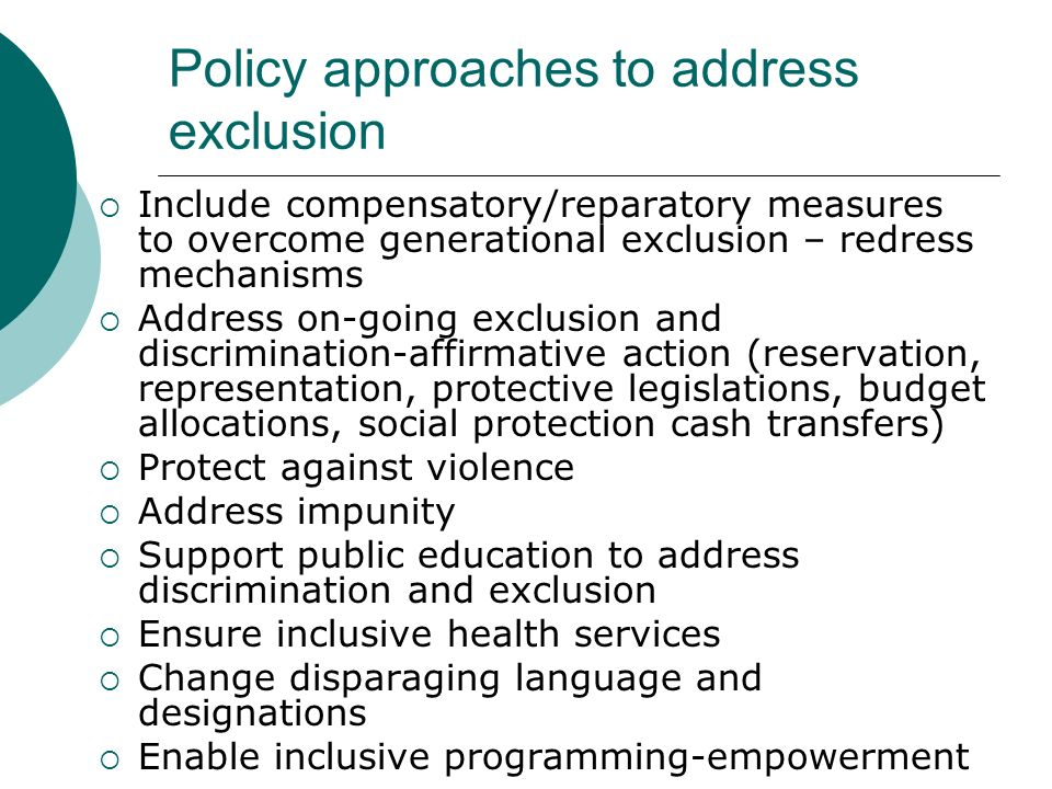 Policy approaches to address exclusion