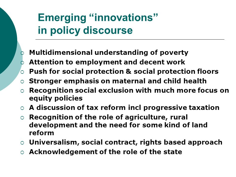 Emerging innovations in policy discourse
