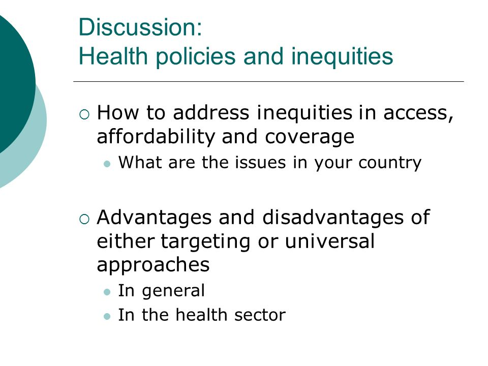 Discussion: Health policies and inequities