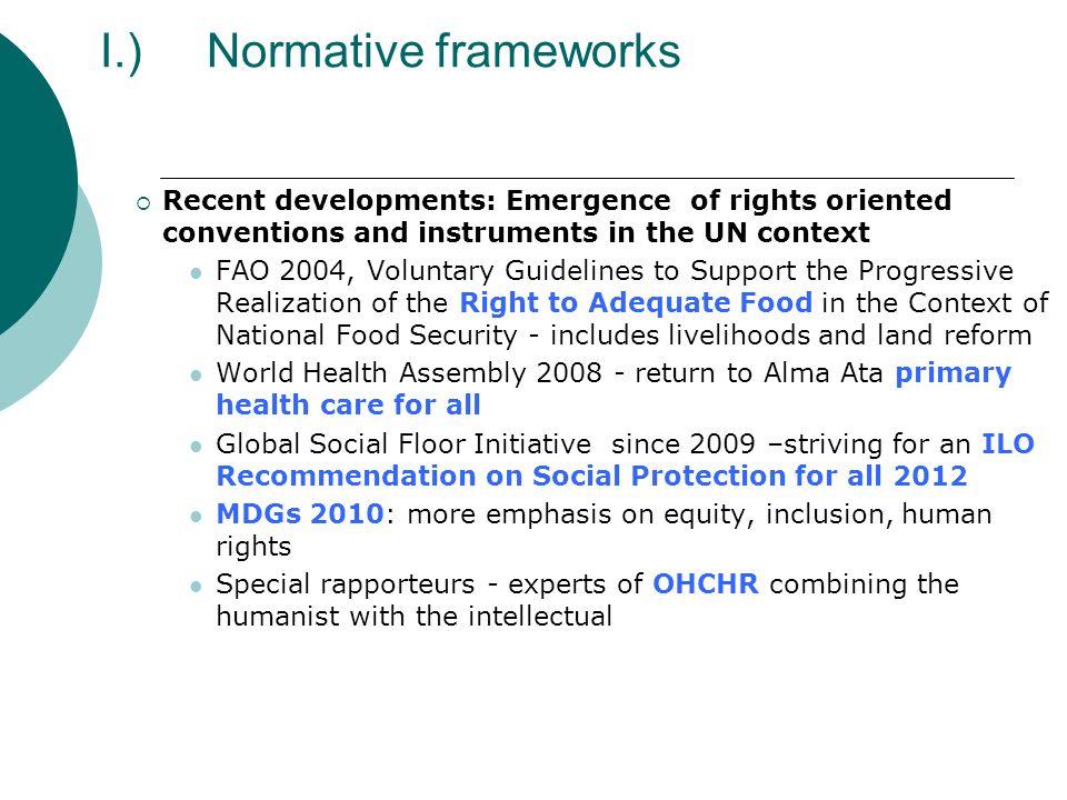I.) Normative frameworks
