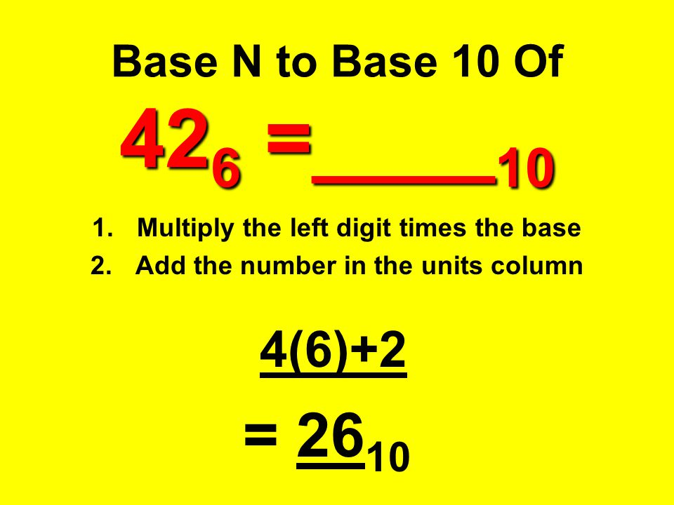 = 2610 4(6)+2 Base N to Base 10 Of 426 =____10