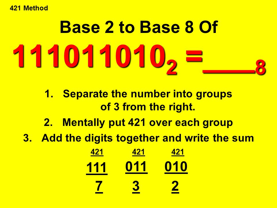 Base 2 to Base 8 Of 1110110102 =___8 421 Method. Separate the number into groups of 3 from the right.