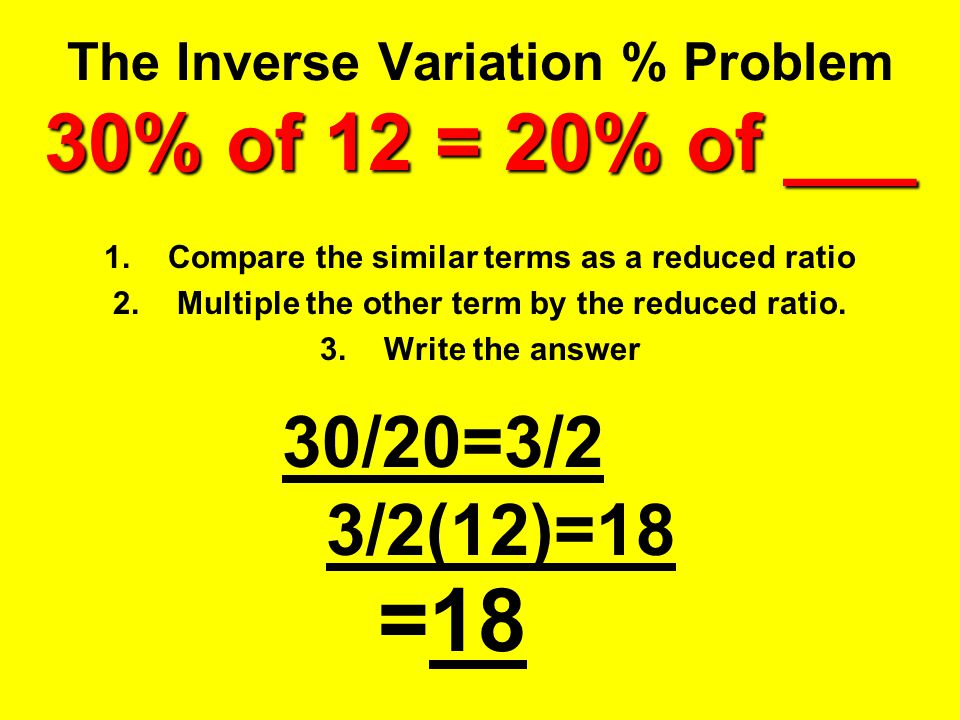 The Inverse Variation % Problem 30% of 12 = 20% of ___