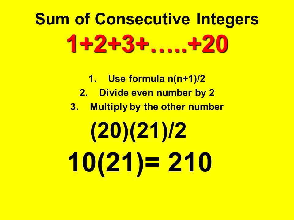 Sum of Consecutive Integers 1+2+3+…..+20