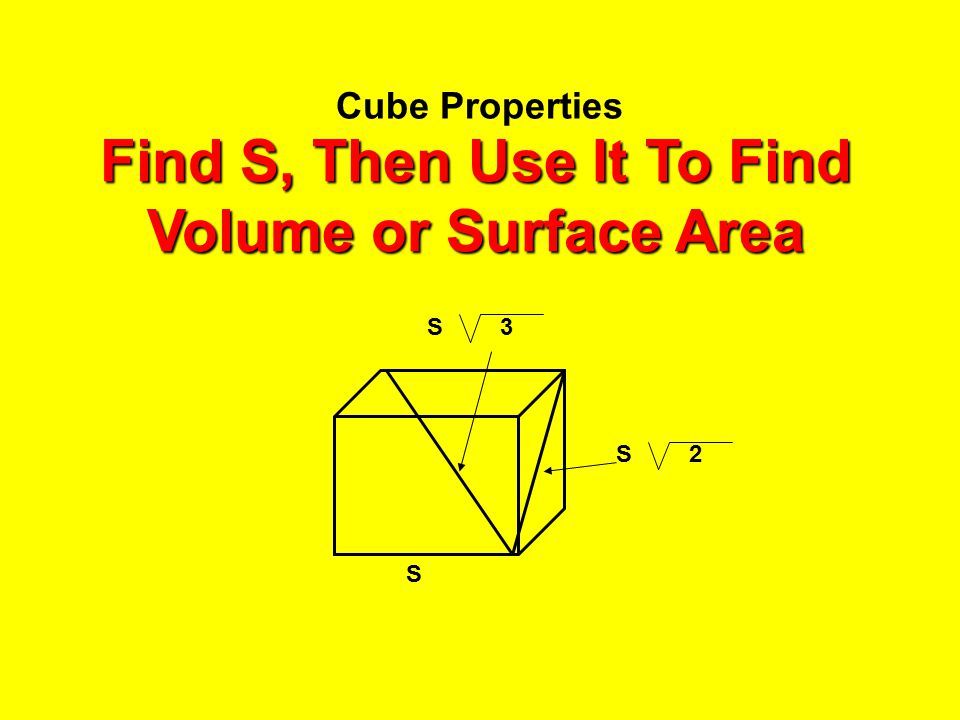 Find S, Then Use It To Find Volume or Surface Area