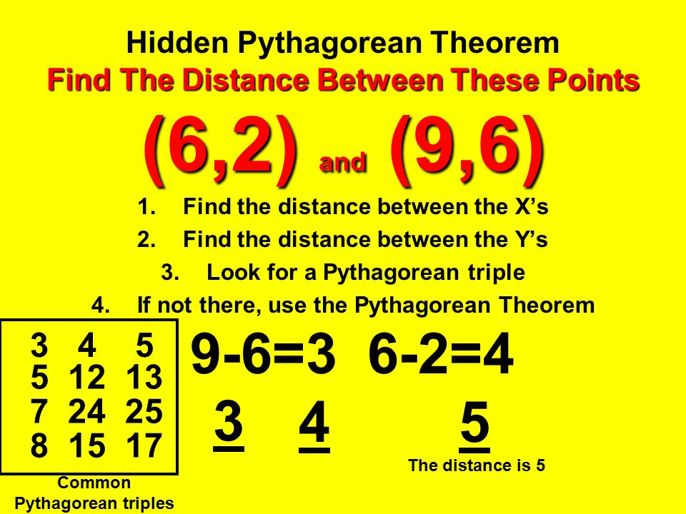 Hidden Pythagorean Theorem Find The Distance Between These Points (6,2) and (9,6)