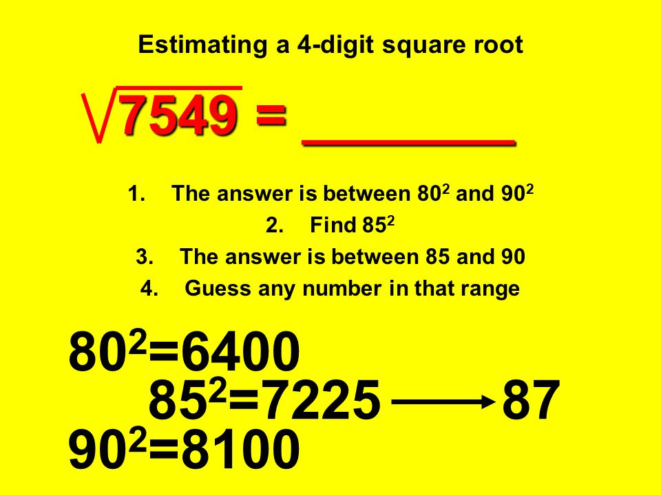 Estimating a 4-digit square root