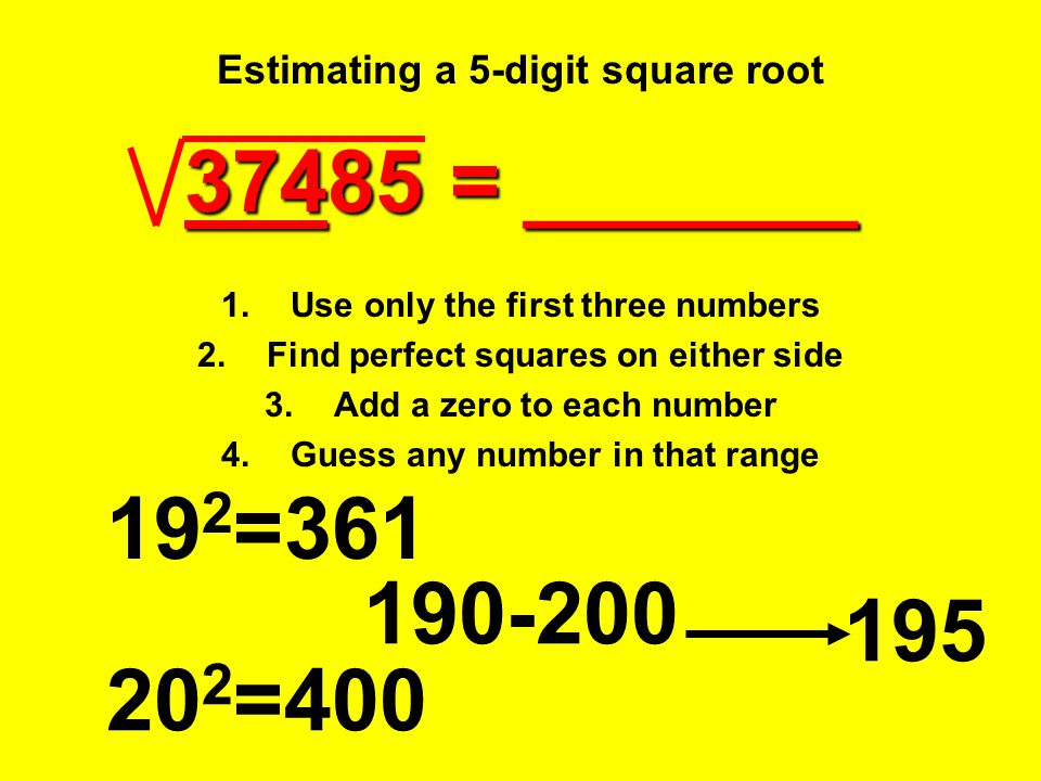 Estimating a 5-digit square root
