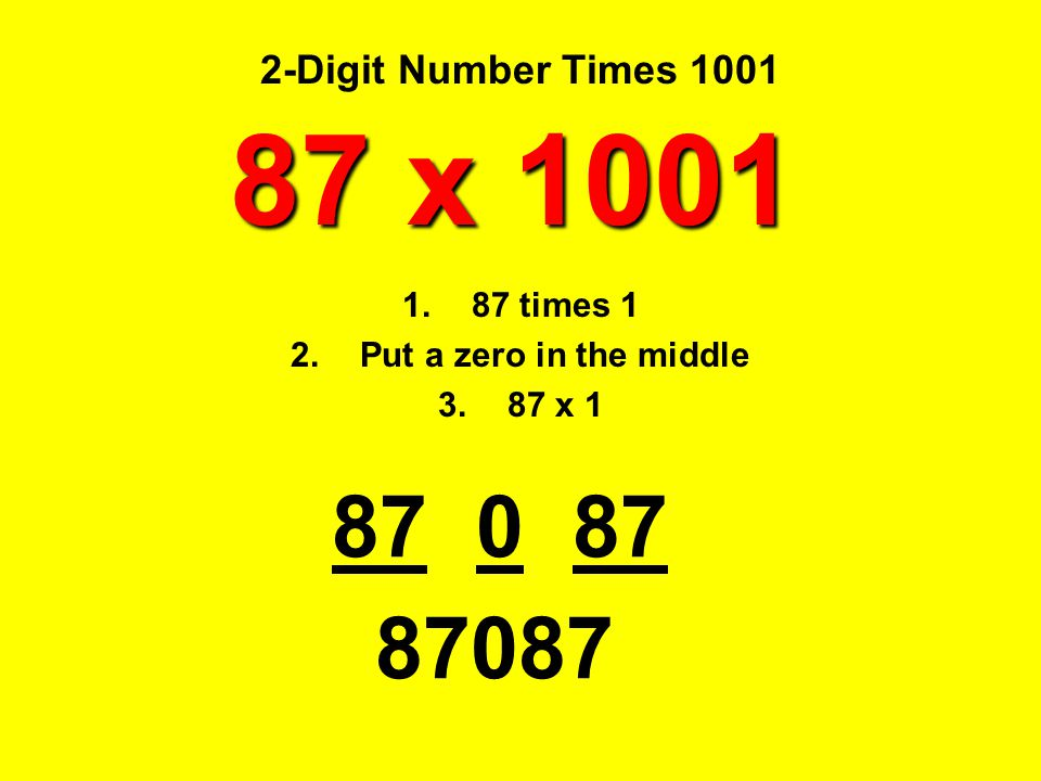 87 x 1001 87 0 87 87087 2-Digit Number Times 1001 87 times 1