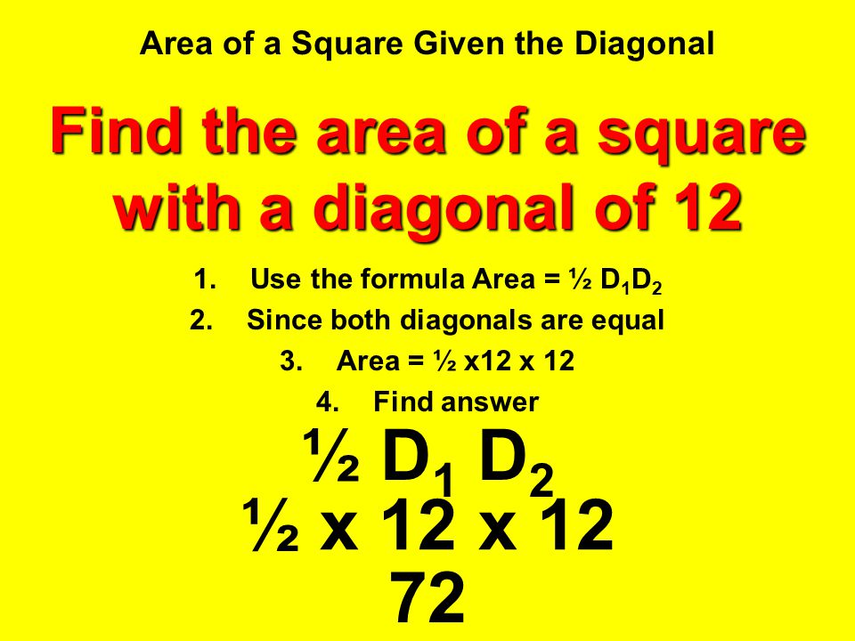 Area of a Square Given the Diagonal