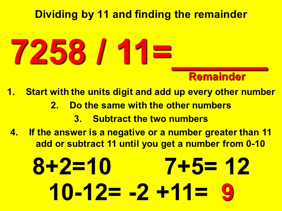 Dividing by 11 and finding the remainder
