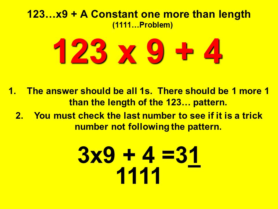 123…x9 + A Constant one more than length