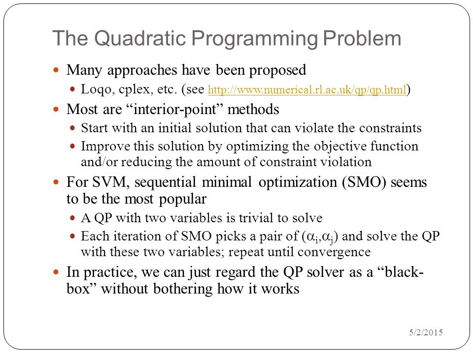 The Quadratic Programming Problem