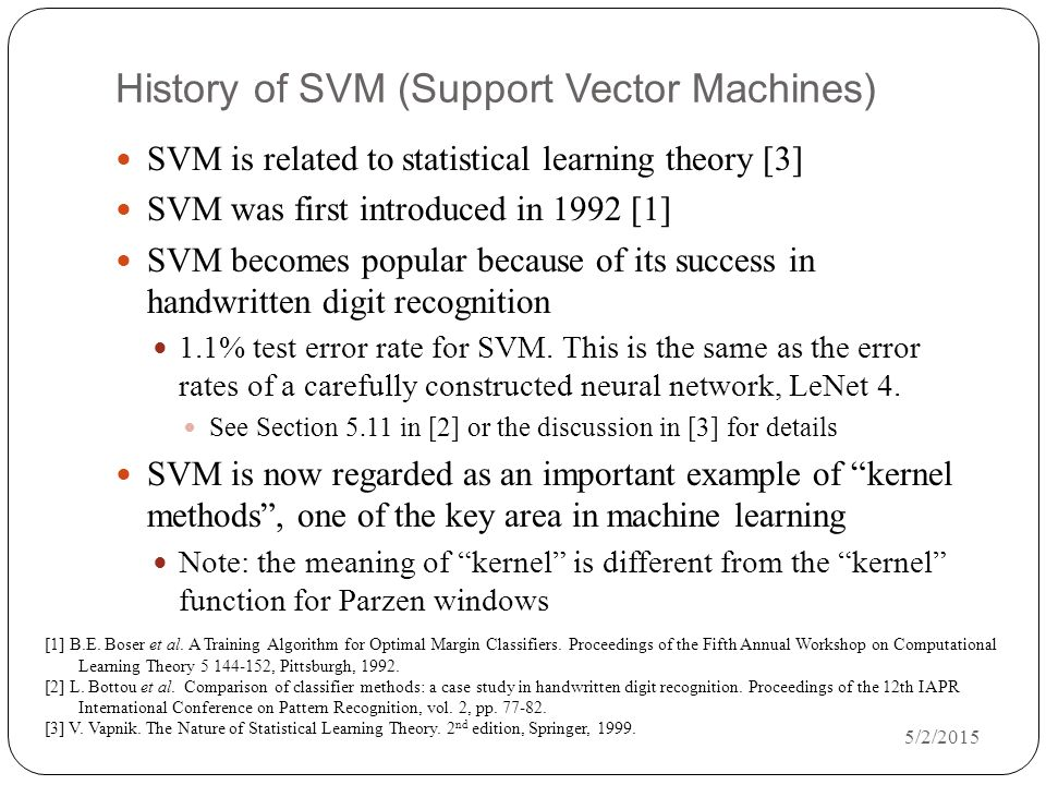 History of SVM (Support Vector Machines)