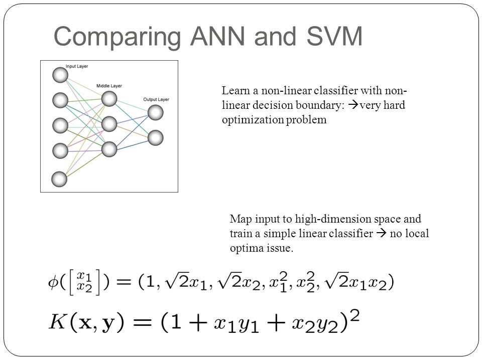 Comparing ANN and SVM Learn a non-linear classifier with non-linear decision boundary: very hard optimization problem.