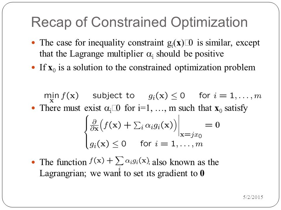 Recap of Constrained Optimization